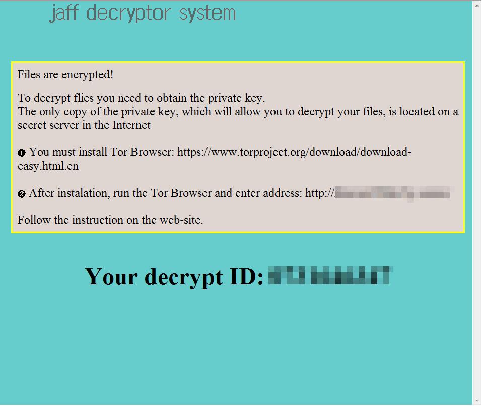 ランサムウェア Jaff Ransomwareの感染と暗号化されたファイルの復号手順メモ